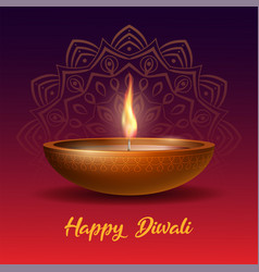 burning diya on happy diwali holiday on dark vector image