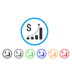 business bar chart positive trend rounded icon vector image