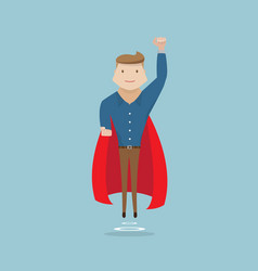 Businessman flying with red cape vector