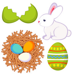 cartoon easter icon set egg shell bunny chicken vector image