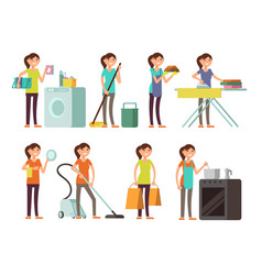 Cartoon housewife in housework activity set vector