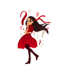 cartoon young adult girl thinking vector image