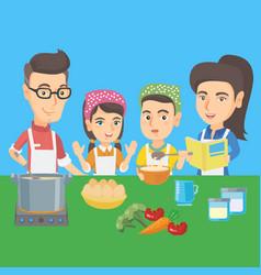 caucasian children cooking with parents vector image