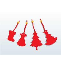 Christmas with red ornaments vector image