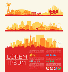 city skyline infographic and statistics elements vector image