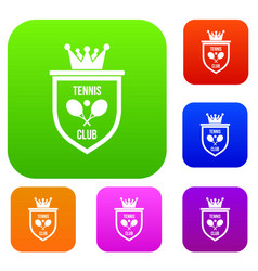 coat of arms of tennis club set collection vector image