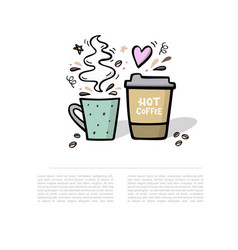 Coffee handdrawn with space for your vector