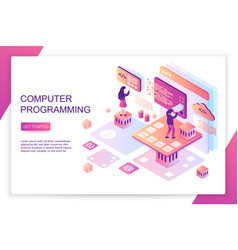 Computer software programming coding front end vector