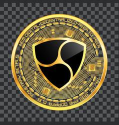 crypto currency nem golden symbol vector image