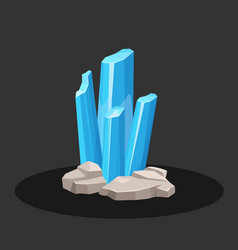 Crystals of blue aquamarine stone vector