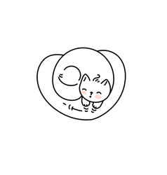 cute cat napping on a heart shape pillow vector image
