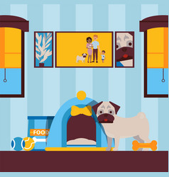 cute dog in house animal pet in apartment vector image