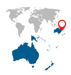 Detailed map australia oceania and world map vector