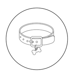 dog collar icon in outline style isolated on white vector image