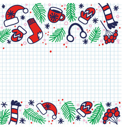 doodle christmas sock for gifts hat mittens vector image