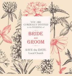 elegant wedding card with meadow flowers vector image