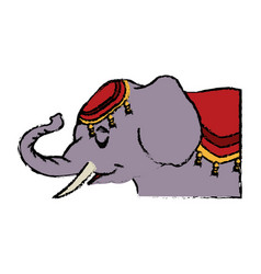 Elephant circus entertainment balance icon vector