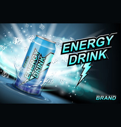 Energy drink label ads with ice cubes and splash vector