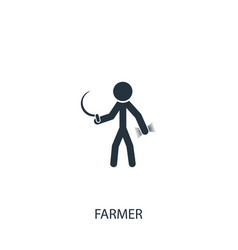 Farmer with sickle icon simple gardening element vector