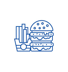 fast foodburger and fries line icon concept fast vector image