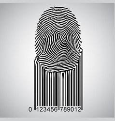 fingerprint becoming barcode vector image