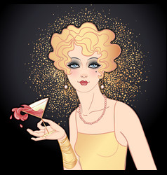 Flapper girl holding cocktail glass with splash vector