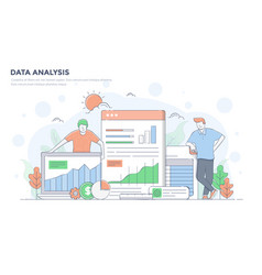 Flat line modern concept - data analysis vector