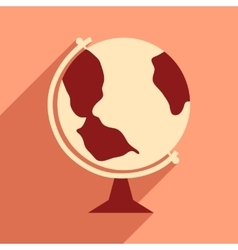 Flat with shadow icon and mobile application globe vector