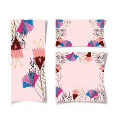 flowers floral wedding cards template design vector image