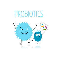 funny and scary bacteria characters isolated vector image