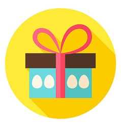 Gift Box with Easter Eggs Circle Icon vector image
