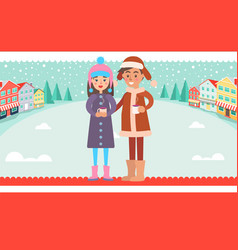 girl and boy in warm winter cloth cups of hot tea vector image