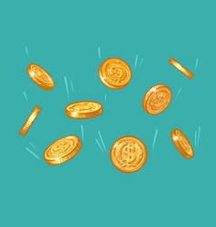 gold coins falling from blue sky sketch money vector image