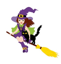 Halloween Witch with Cat vector