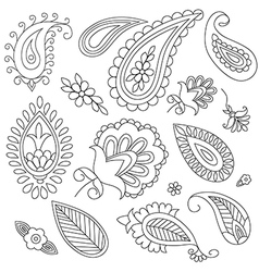 hand-drawn elements of ethnic paisley vector image