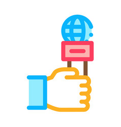 hand microphone icon outline vector image