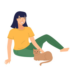 Happy girl patting cat smiling young woman vector