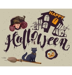 Happy Halloween Set of accessories for greeting vector image