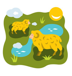 herd of sheep on a meadow flat style vector image