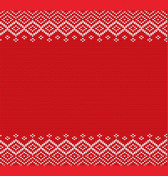 Holiday knitted geometric ornament with empty vector