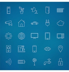 Internet of things Line Icons Set over Blurred vector