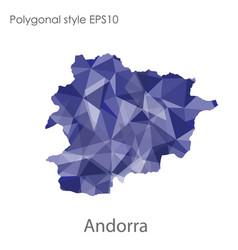 isolated icon andorra map polygonal geometric vector image