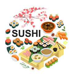 Isometric japanese food round concept vector