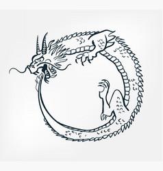 Japanese chinese design uroboros dragon vector
