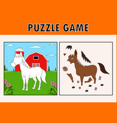 Jigsaw puzzle game with cute horse animal vector