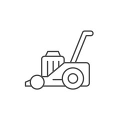Lawn mower line outline icon vector