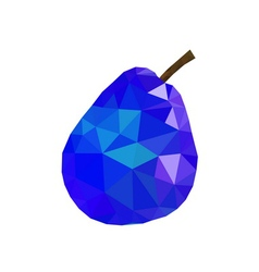 Low poly pear icon blue vector