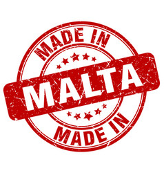 made in malta red grunge round stamp vector image