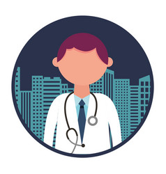 medical doctor with cityscape vector image