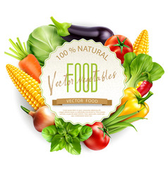 menu with vegetables and round card for text vector image
